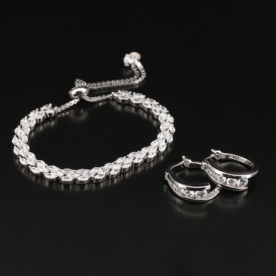Sterling Cubic Zirconia Slide Bangle and Earrings