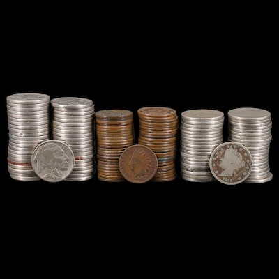 """134 U.S. Type Coins, Buffalo Nickels, """"V"""" Nickels, Indian Head Cents"""