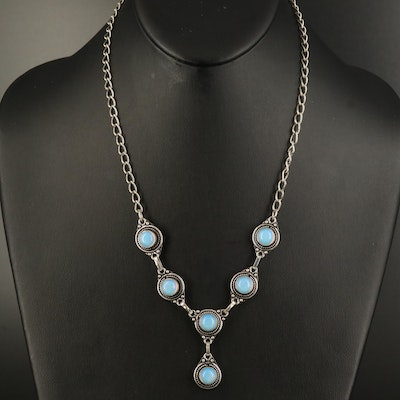 Sterling Opalite Drop Necklace