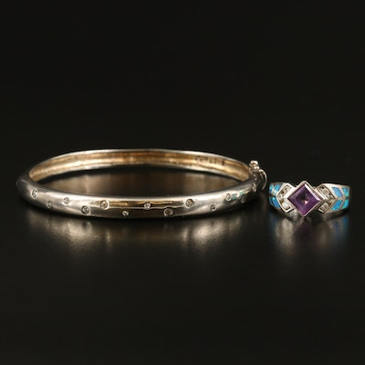 Sterling Hinged Bracelet and Ring with Amethyst, Opal and Cubic Zirconia