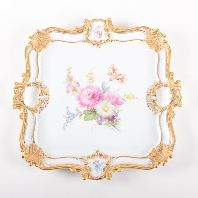 Meissen Rococo Style Hand-Painted Gilt and Floral Porcelain Tea Tray