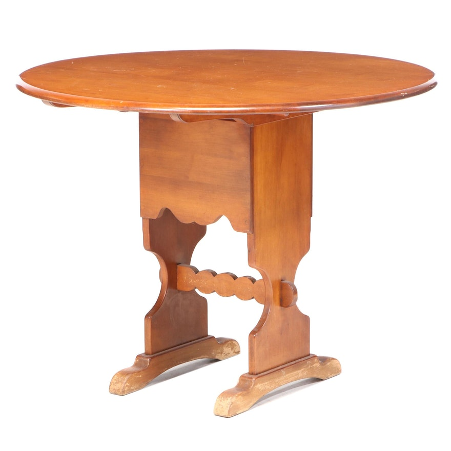 Primitive Style Cherrywood Convertible Tavern Style Table, Mid-20th Century
