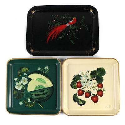 Tole Painted Metal Serving Trays, Mid to Late 20th Century