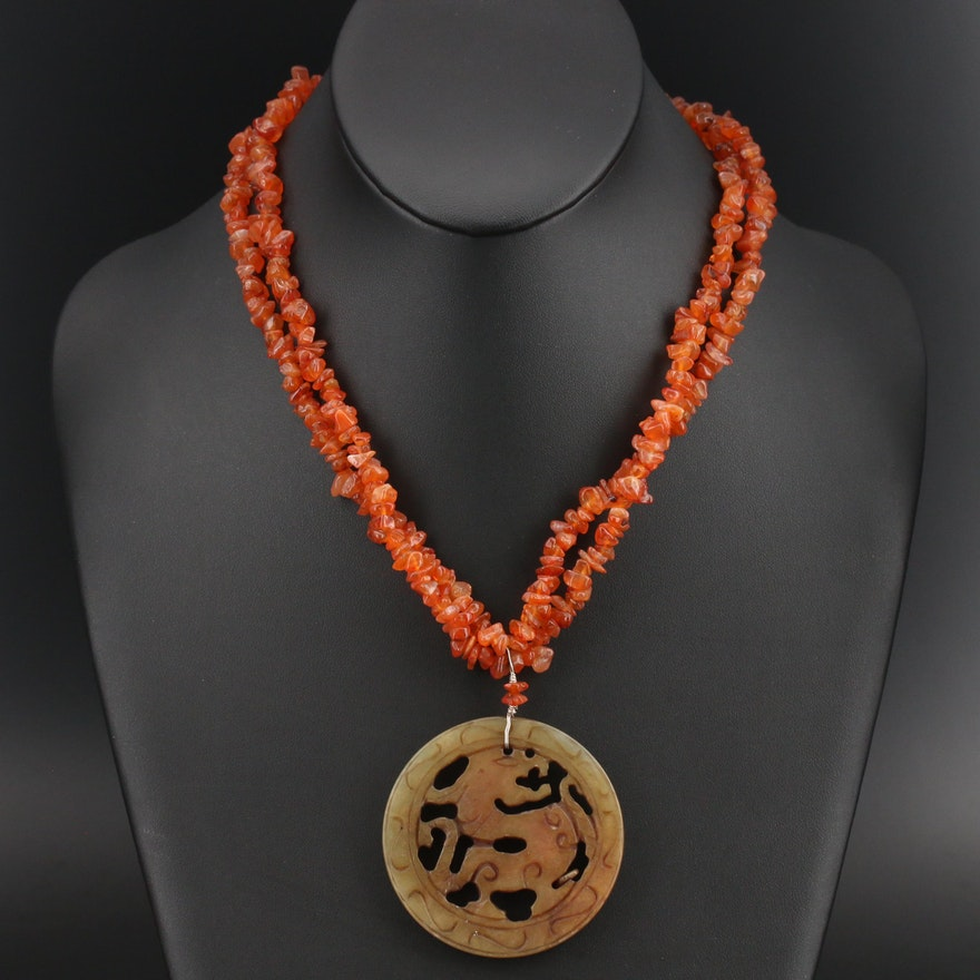 Carved Serpentine Dragon Medallion on Agate Beaded Necklace