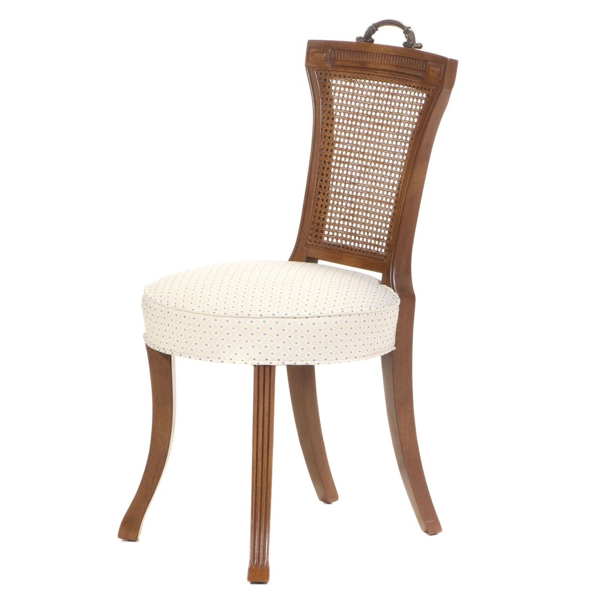 Pecan Vanity Side Chair with Caned Back, Mid-20th Century