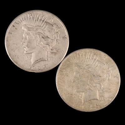 Better Date 1927 and 1935 Peace Silver Dollars
