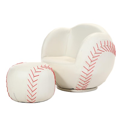 Child's Vinyl Upholstered Swivel Baseball Chair and Ottoman