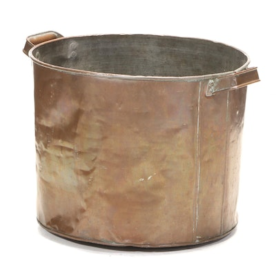 American Primitive Copper Double Handled Boiler Pot, 20th Century