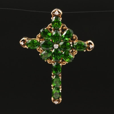 10K Diopside and Diamond Cross Pendant