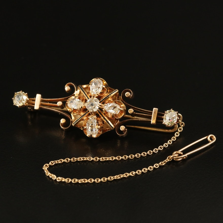 Victorian 14K 1.73 CTW Diamond Bar Brooch with Enamel Accents