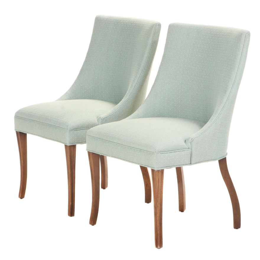 Pair of Sloped Back Upholstered Dining Chairs, Late 20th/Early 21st Century