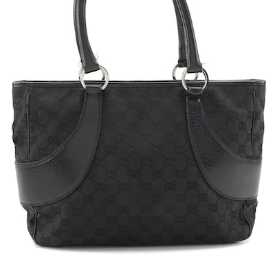 Gucci GG Swing Tote in Black Canvas and Leather