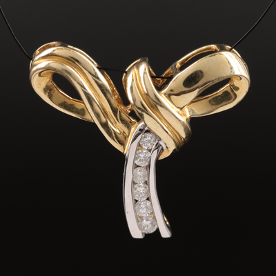 14K Two-Tone Diamond Ribbon Pendant