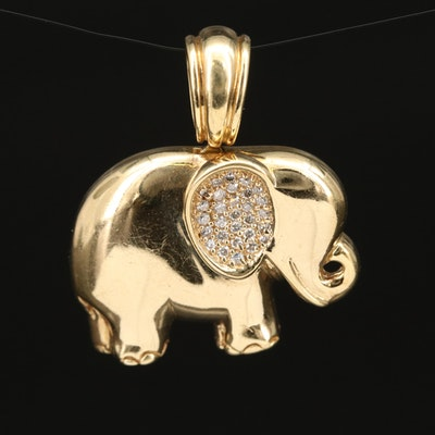 14K Diamond Elephant Pendant