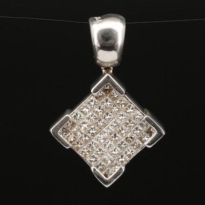 18K Square Invisible Set Diamond Pendant