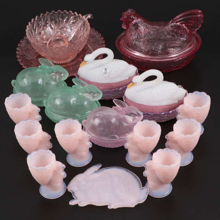 Pink Depression Glass Mayonnaise Dish with Other Pressed Glass Tableware