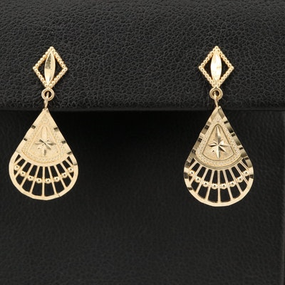 14K Fan Earrings with Diamond Cut Designs