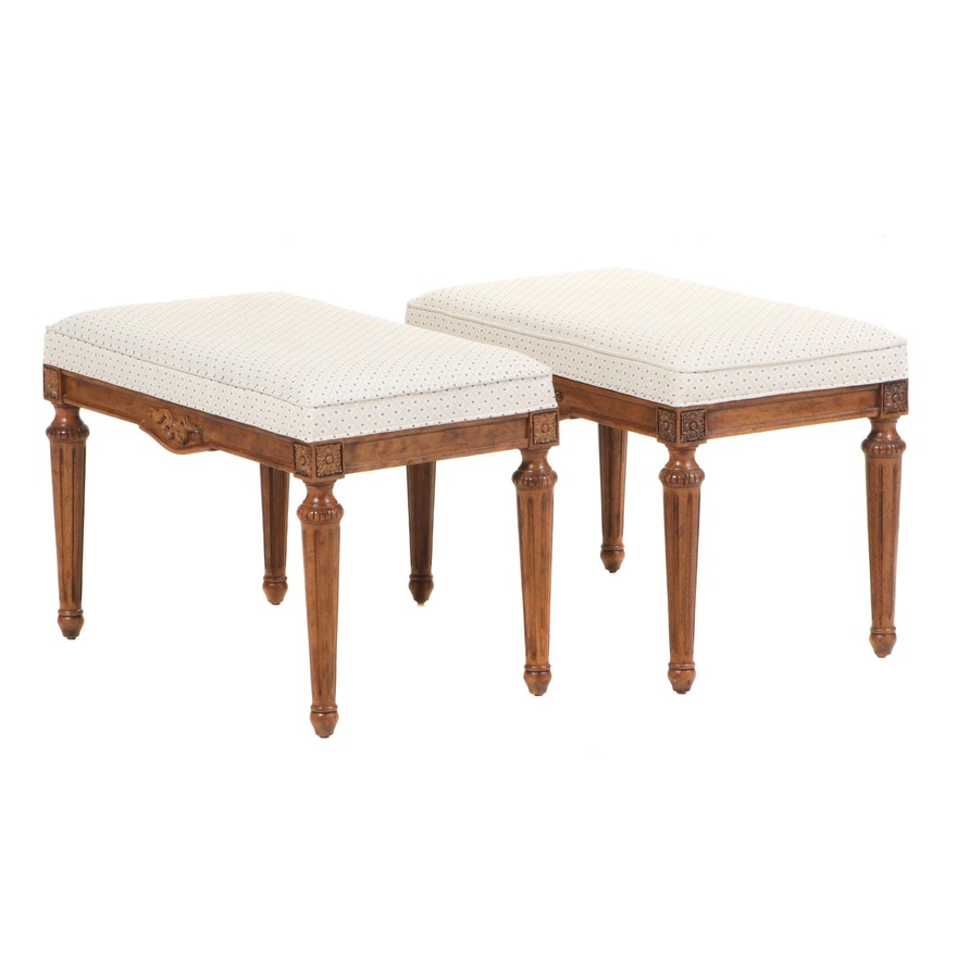 French Louis XIV Style Upholstered Footstools, Mid to Late 20th Century