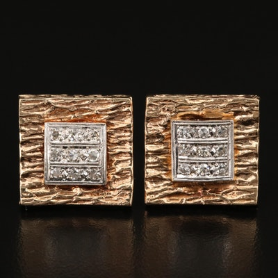 Vintage 14K Diamond Textured Cufflinks