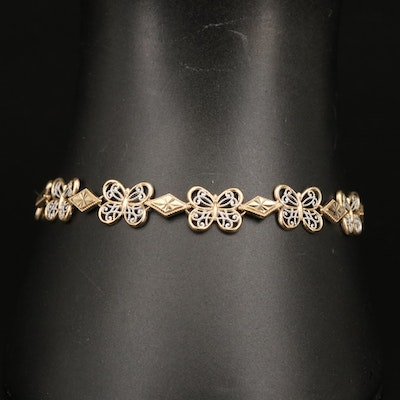 10K Filigree Butterfly Bracelet