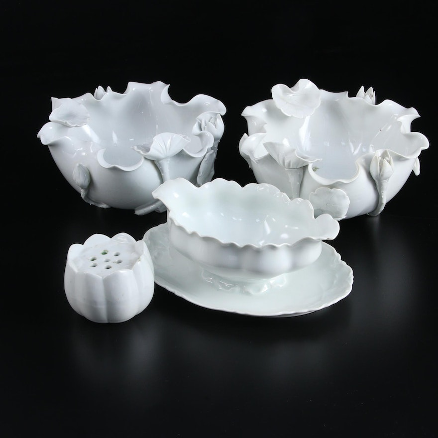 Chinese Blanc de Chine Lotus Form Bowls with Fraureuth Sauce Boat