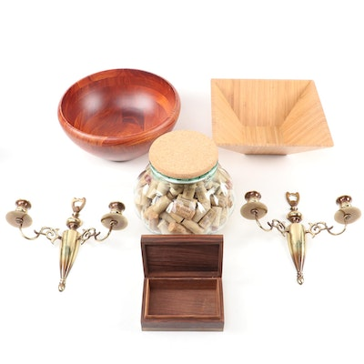 Brass Candle Sconces, Pampered Chef Bamboo Bowl, Trinket Box, and More