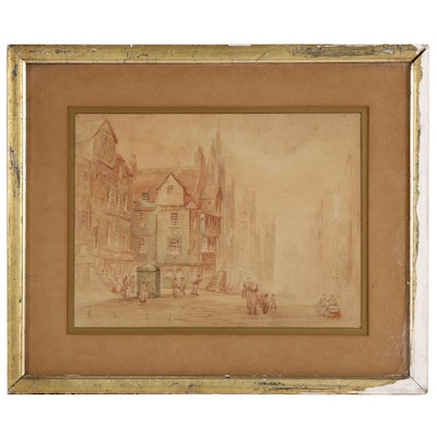 Edwardian Landscape Watercolor Painting