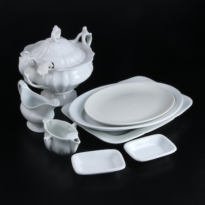 P. Regout Maastricht Tureen with Other White Ironstone and Ceramic Tableware