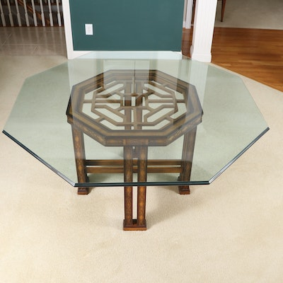Drexel-Heritage Chippendale Style Glass Top Dining Table