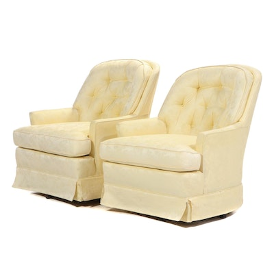 Pair of Upholstered Button-Tufted Swivel Rocking Chairs, Mid 20th Century