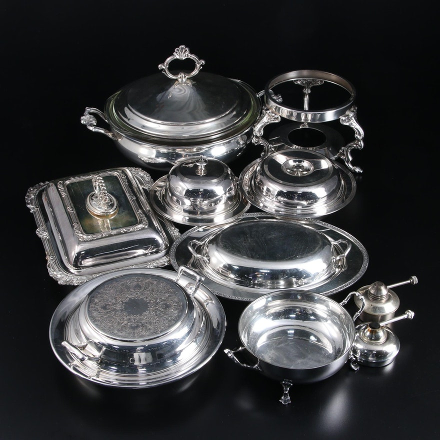 Meriden Cutlery Co. Silver Plate Lidded Serving Dish and Other Serveware