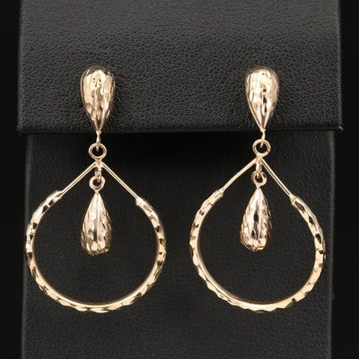 14K Textured Hoop Earrings with Center Dangles