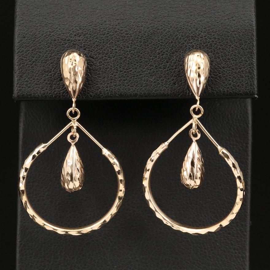 14K Textured Hoop Earrings with Center Dangles