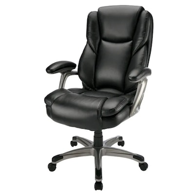 """Realspace """"Cressfield"""" Black Bonded Leather High-Back Executive Chair"""