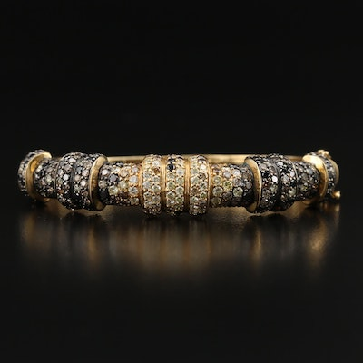 18K 6.00 CTW Diamond Hinged Bangle