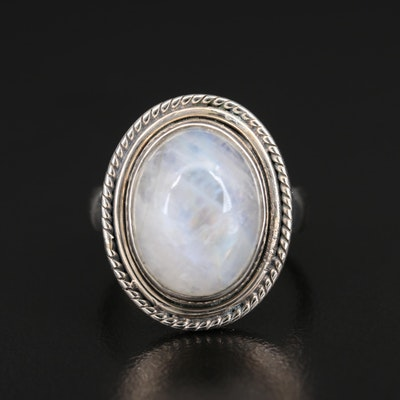 Sterling Oval Moonstone Cabochon Ring