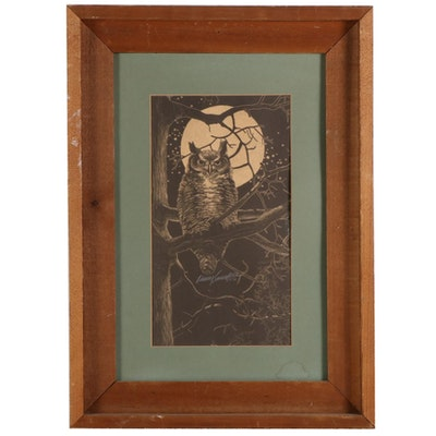 Lithographic Print of Owl and the Moon