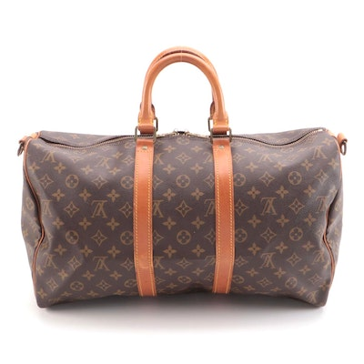 Louis Vuitton Keepall Bandoulière 45 in Monogram Canvas with Leather Trim