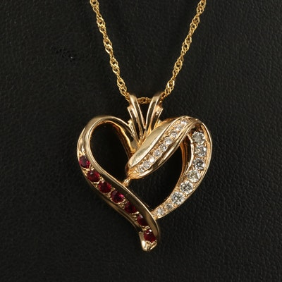 14K Diamond and Ruby Heart Pendant Necklace
