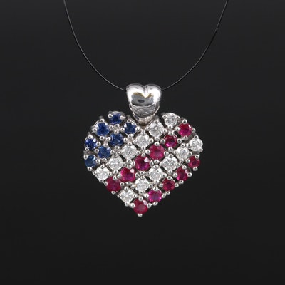 14K Sapphire, Ruby and Diamond American Flag Heart Pendant
