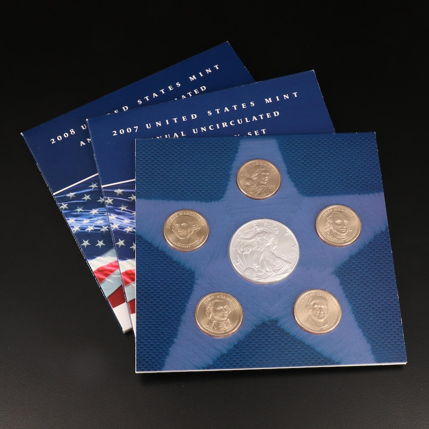 U.S. Mint Annual Uncirculated Dollar Coin Set, 2007 and 2008
