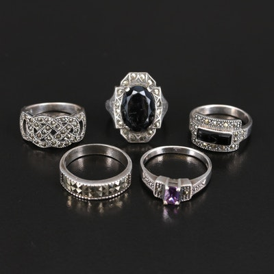Sterling Rings Including Black Onyx, Marcasite and Gemstones