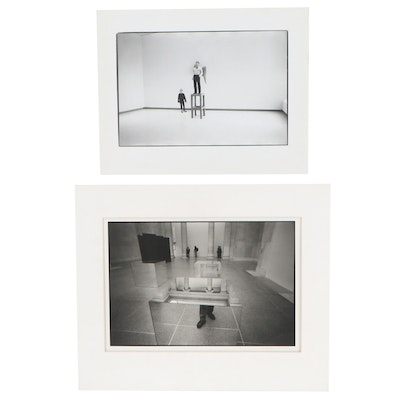 William Wade Silver Gelatin Photographs of Reflections at the Louvre