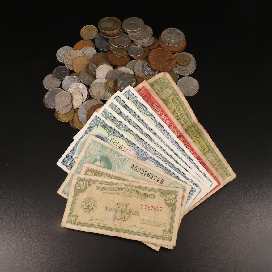 121 Foreign Coins and 11 Foreign Banknotes