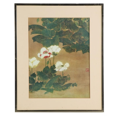 Giclée of East Asian Composition with White Flowers