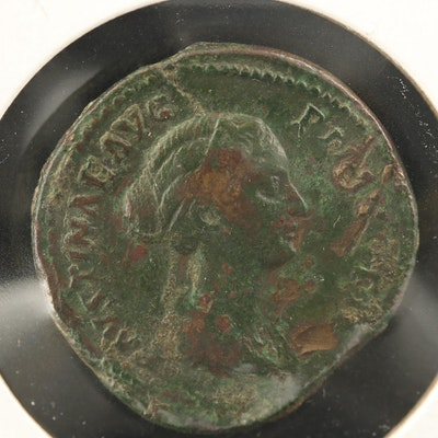 Ancient Roman Imperial AE Sestertius Coin of Faustina II, 147–175 AD