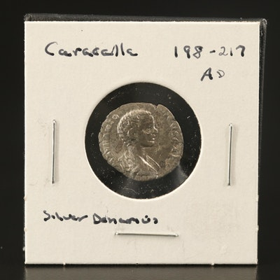 Ancient Roman Imperial AR Denarius of Caracalla, ca. 198–217 AD