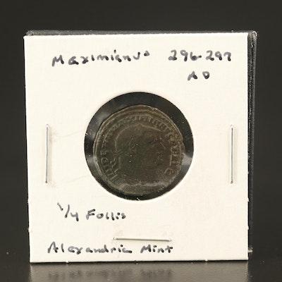 Ancient Roman AE Quarter Follis of Maximianus, Alexandria Mint, 305–306 AD
