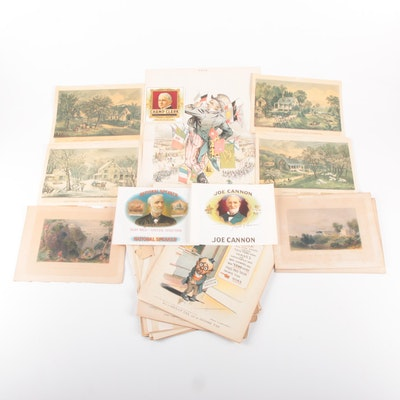 """W. H. Bartlett, Currier & Ives Prints with """"PUCK""""  Magazine and Cigar Labels"""