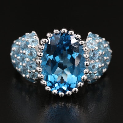 14K Topaz Ring with Pavé Shoulders